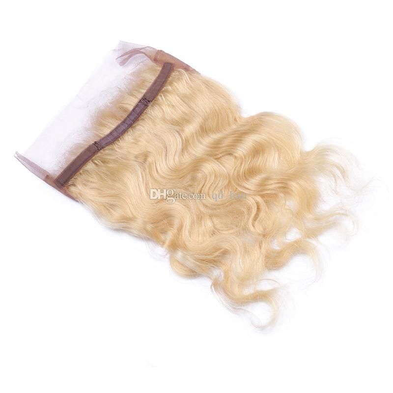 새로운 패션 360 레이스 밴드 정면 아기 머리카락 러시아어 인간의 머리 금발 # 613 360 전체 레이스 밴드 정면 무료 중반 부분