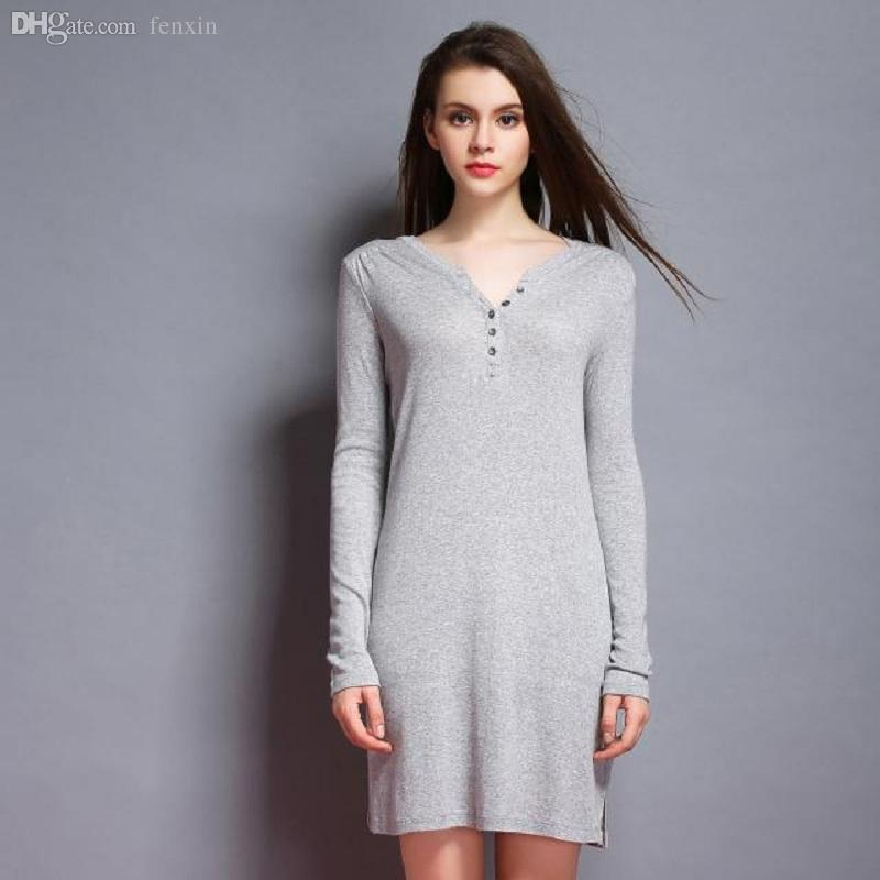 2019 Wholesale Special Preferential Modal Cotton Nightdress Gray Long  Nightgown Women Long Sleeve V Neck Casual Indoor Clothing Sleepwear From  Fenxin 46108bfee