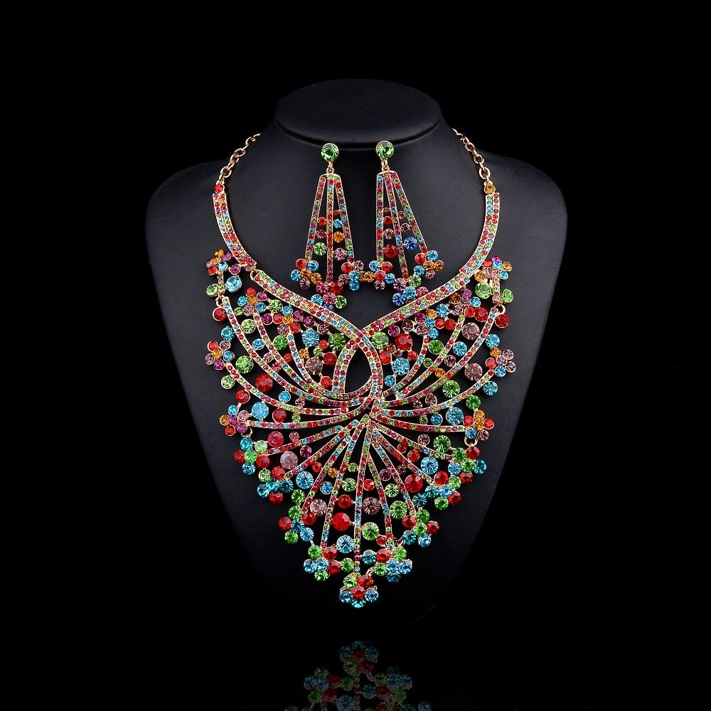 2017 New Design Bridal Jewelry Sets Gold Plated Big Flower Statement Necklace And Earrings For Brides Wedding Party Accessories Women