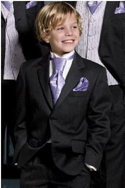 Hot Sale 2016 new arrival High Quality Black Boy Suit Wedding Dress Two Buttons Boys Attire Groom Tuxedos jacket+pants+vest