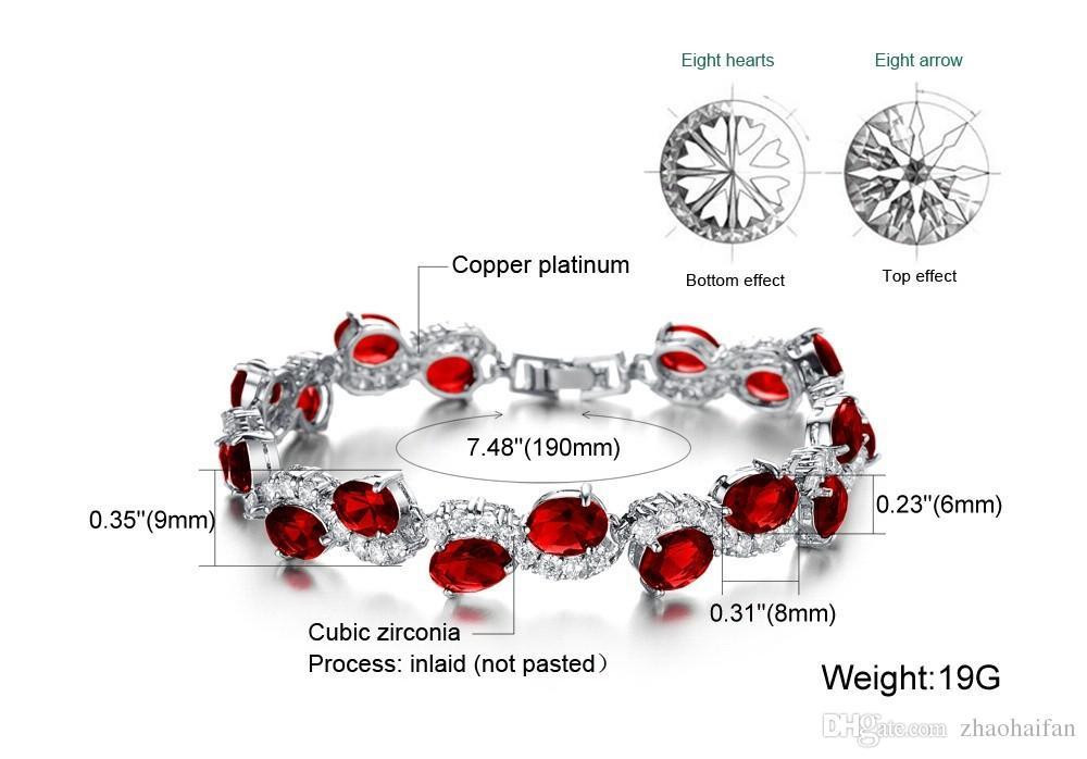 2016 nouveau Mode Classique Rouge Cristal Pierre Femmes Bracelet Nouveau Designer Charme Chaîne Lien Bracelets Bijoux En Plaqué Or Blanc 926