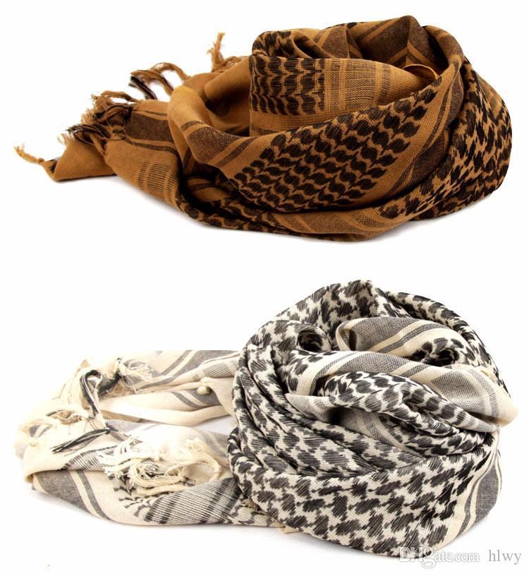 All'ingrosso-100% cotone arabo Keffiyeh Shemagh sciarpa militare tattica delle sciarpe ispessite Hijab Square antivento Bandane