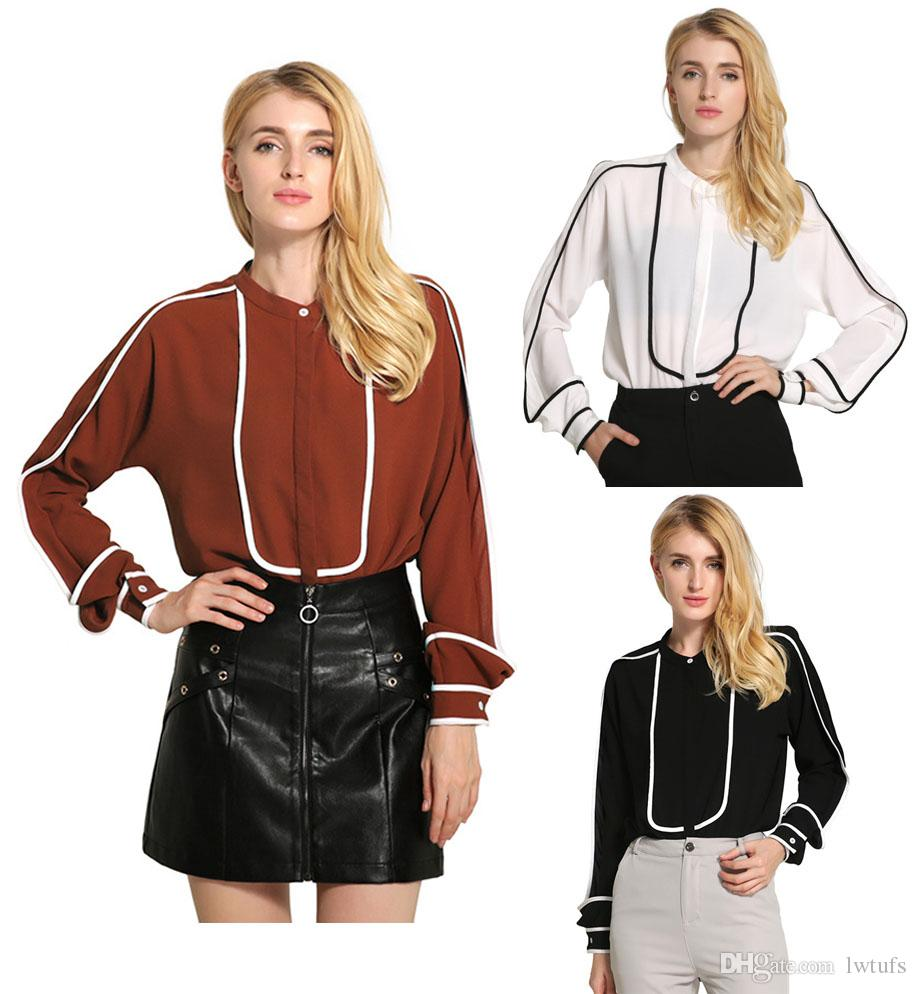 Women Blouse 2016 Simple Classic Autumn Winter Personality Fashion Jfashion Korean Style Chiffon Spandek Wing Round Neck Long Sleeve Contrast Color Ladies Casual Unique Tops New