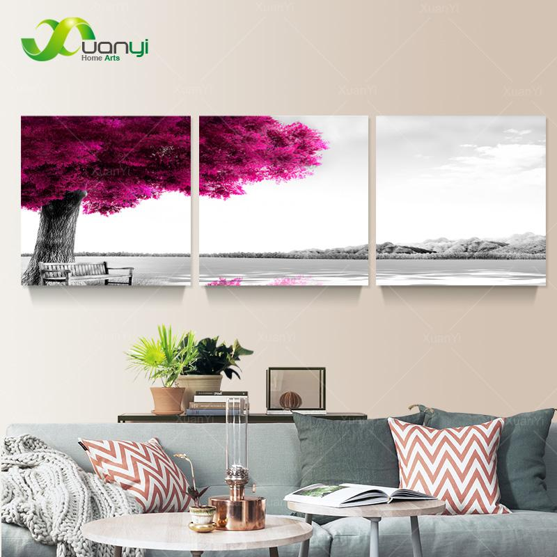 2018 3 Panel Modern Printed Pink Tree Landscape Painting Picture