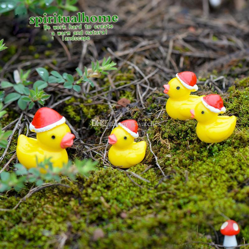 Canard de Bande Dessinée avec Chapeau De Noël Figurines Fée Jardin Miniature Résine Artisanat Bonsaï Décoration DIY Cadeau De Noël