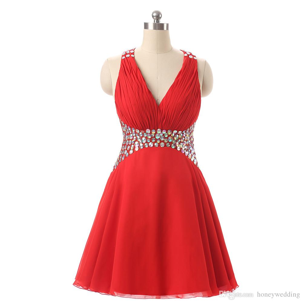 Short Red Prom Dresses 2017 Crystals Beaded Pleated Cheap Teens Homecoming Party Dress 8th Grade Graduation Dress Gowns Real Photo