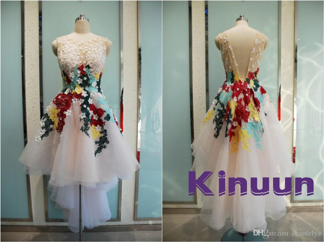 Real Photo Romantic Colorful Appliques Crystal Backless A Line Pop ...