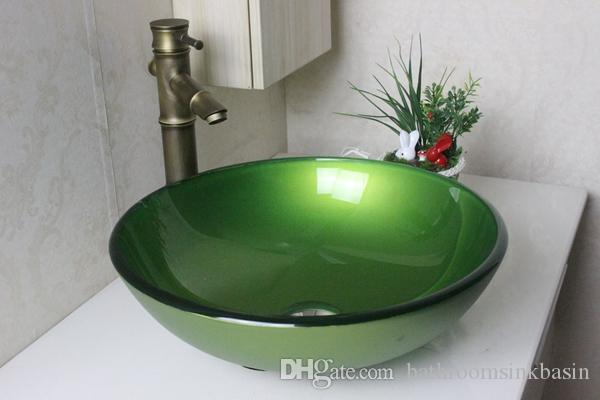 2019 307 Pink Green Circular Basin Tempered Glass Vessel Sink With