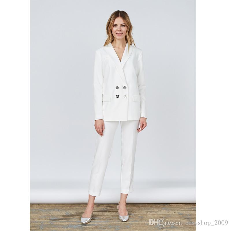 Acquista Giacca + Pantaloni Bianco Donna Affari Abiti Blazer Ufficio  Femminile Uniforme Donna Inverno Abiti Formali Doppiopetto Abiti 2 Pezzi A   93.57 Dal ... e75fd61485c