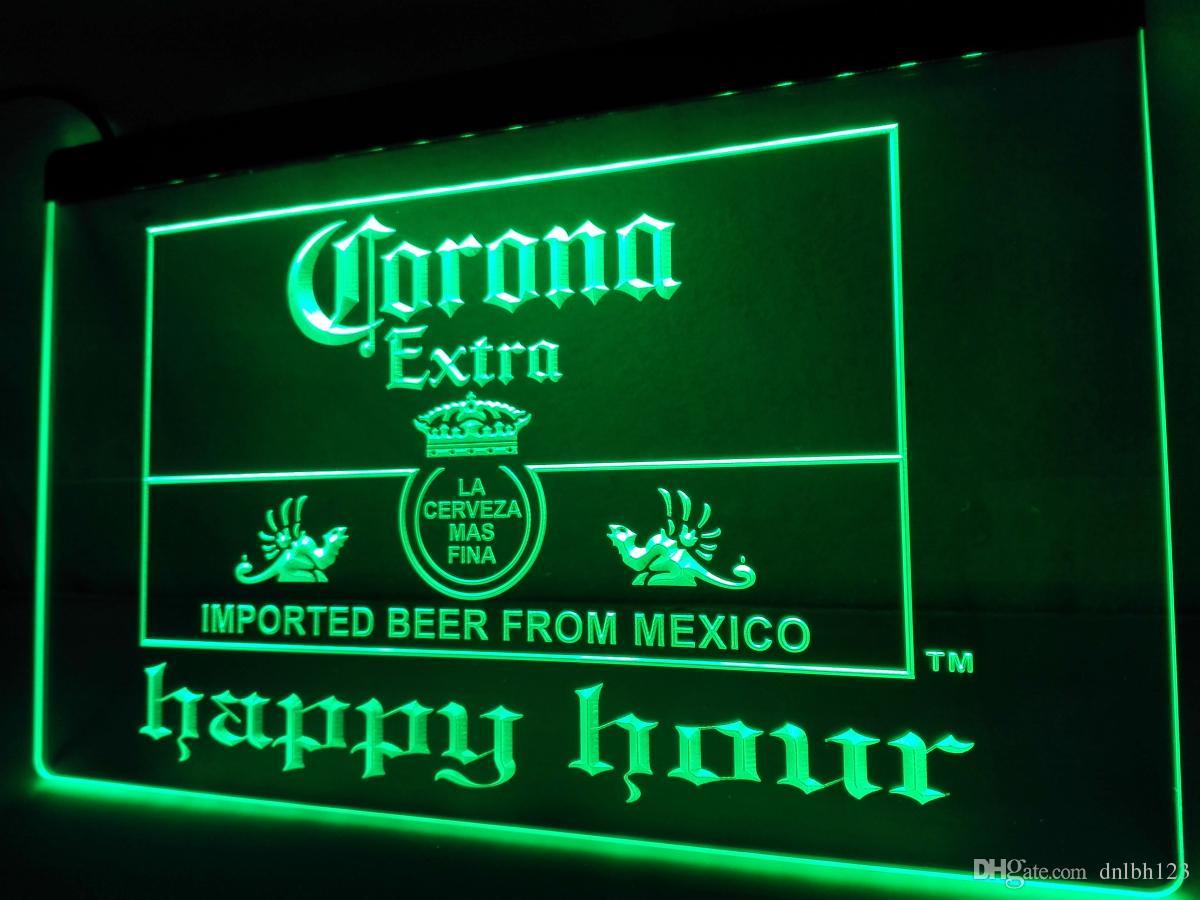 LA611g Corona Extra Beer Happy Hour Bar LED Neon Light Sign LED