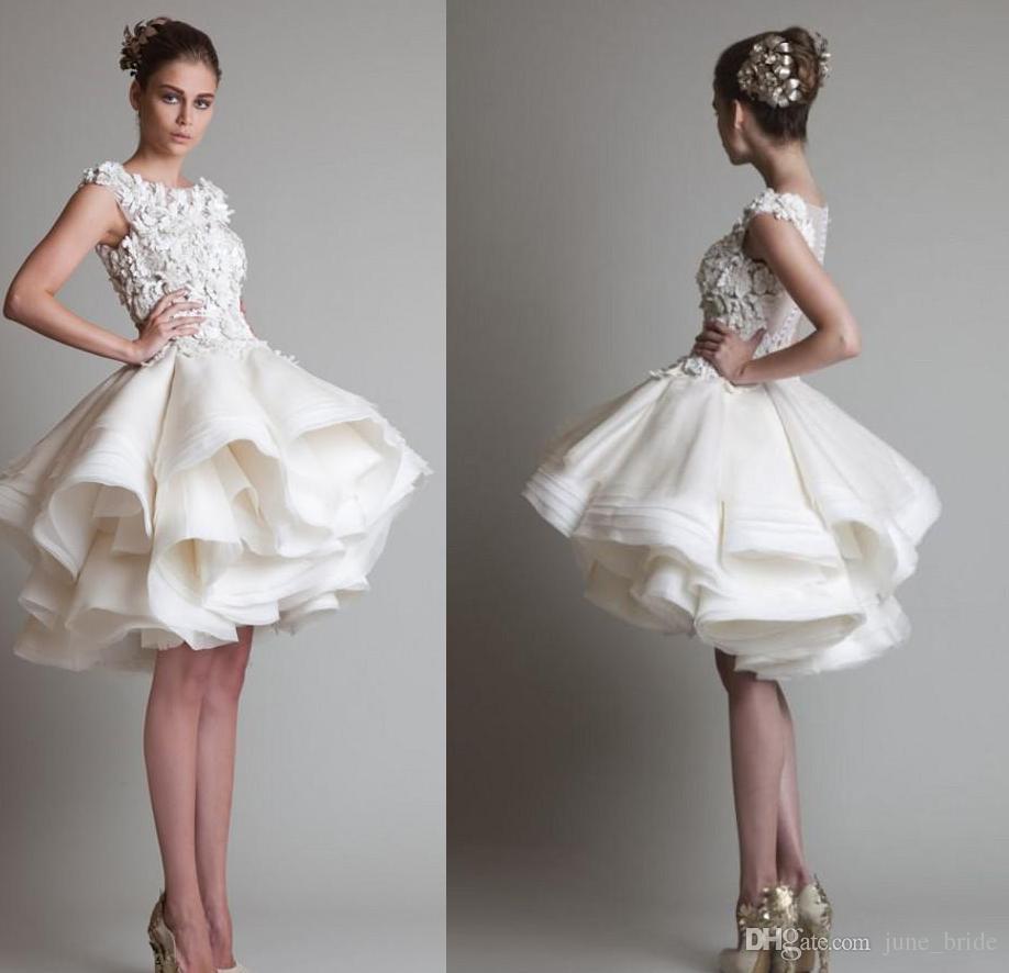New Design 3D Floral Appliques Short Lace Wedding Dresses Charming
