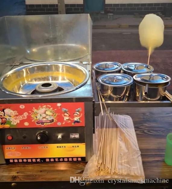 Ticari Çiçek Şekli Pamuk Şeker Makinesi Gaz Tipi Fantezi Şeker Ipi Makinesi Pil Sürücü Pamuk Şeker Makinesi Popüler Aperatif Gıda Maker