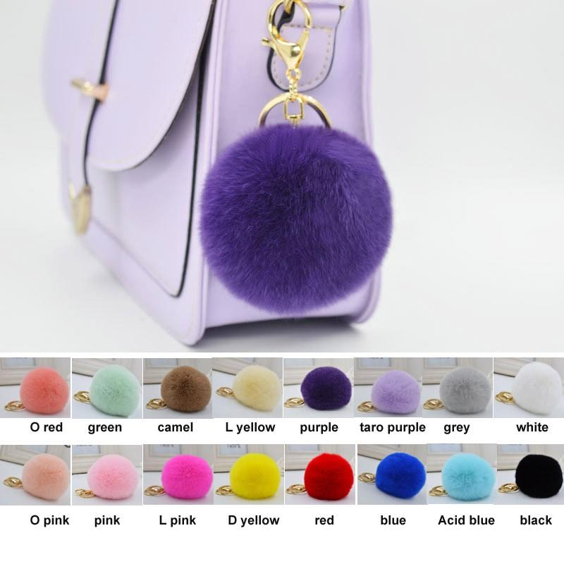 Popular Keychain Rex Rabbit Fur Ball Keychain Gift Genuine Rex Rabbit Fur Pendant Phone Tassel Fur Pompom Accessory DHL free 100pcs 16 color