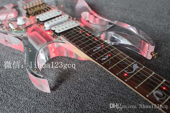 Akrilik Kristal LED lamba parlak elektro gitar şeffaf pleksiglas elektro gitar 7 V Gitar LED renkler belirtilebilir yanı sıra cus