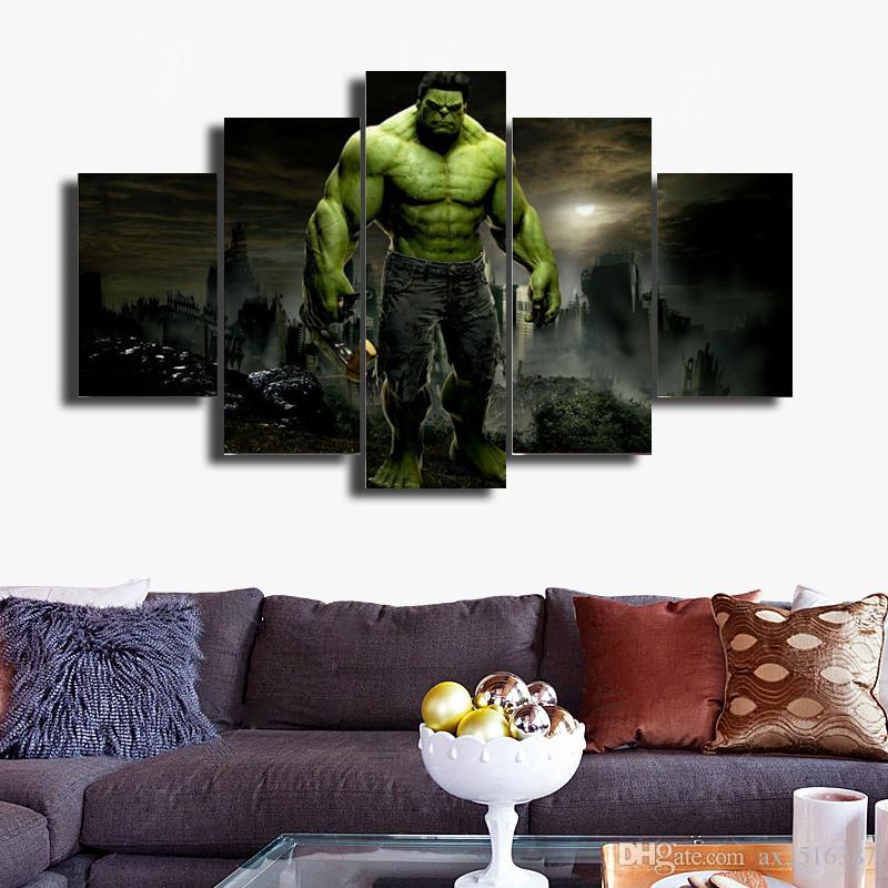 5 Pçs / set O Incrível Hulk Cópia Da Lona Pintura Moderna Arte Da Parede Da Lona para a Decoração Da Parede de Decoração Para Casa Arte DH009