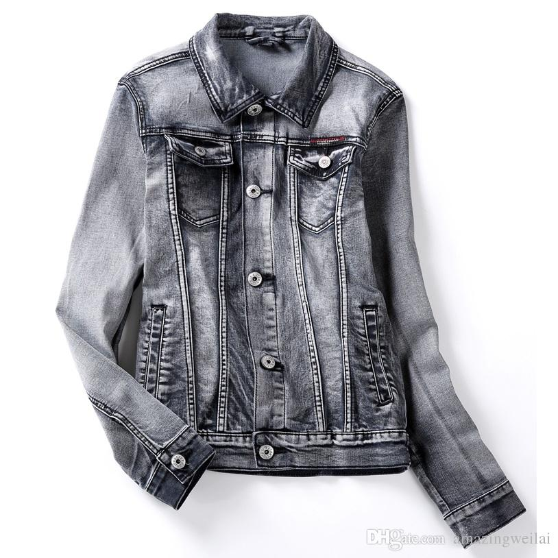 9 Size S To 6xl Big Size Men Denim Jacket Grey Jean Jacket Long ...