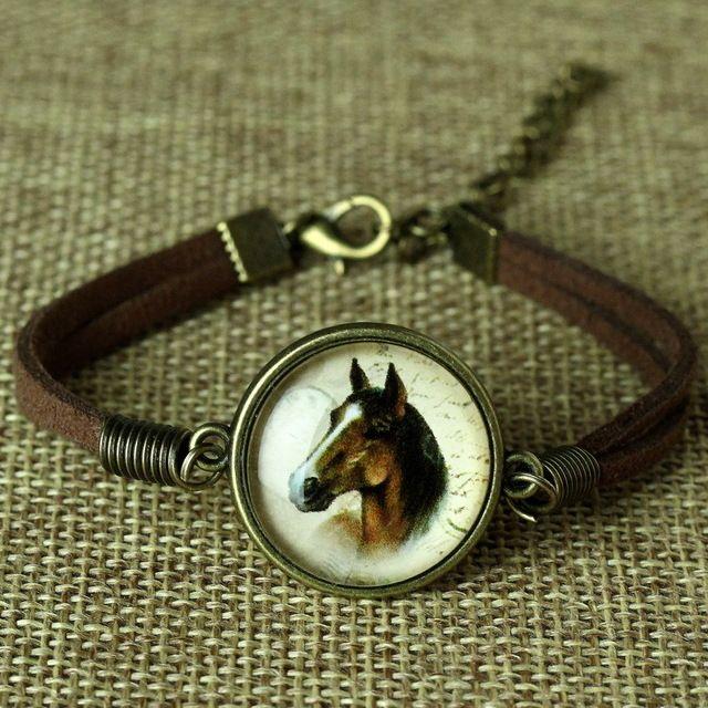 glass galaxy bracelets leather bracelet animal horse cat deer bracelet fashion jewelry for women cute jewellery bijoux leather bracelets bracelets for men