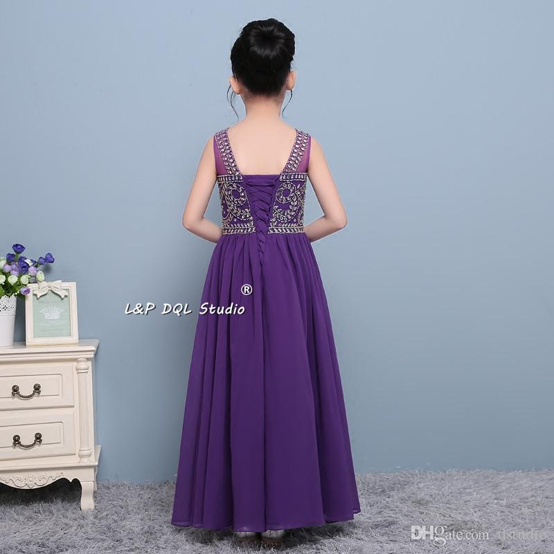 2017 New Arrival Purple Flower Girls Dresses Chiffon with Sparkling Beads Sequins Maxi Girls Party Dress Cheap Lace-up/Zipper Back Cheap