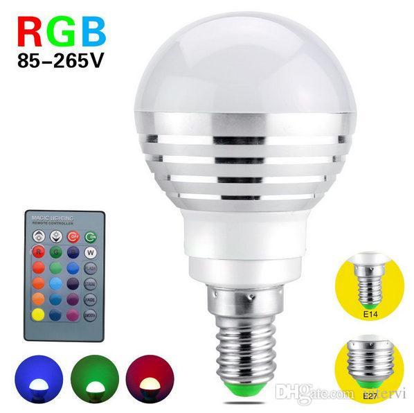 Dimmer Led Rgb Bulb Light 3w 85 265v Led Bulb Light Wireless Remote