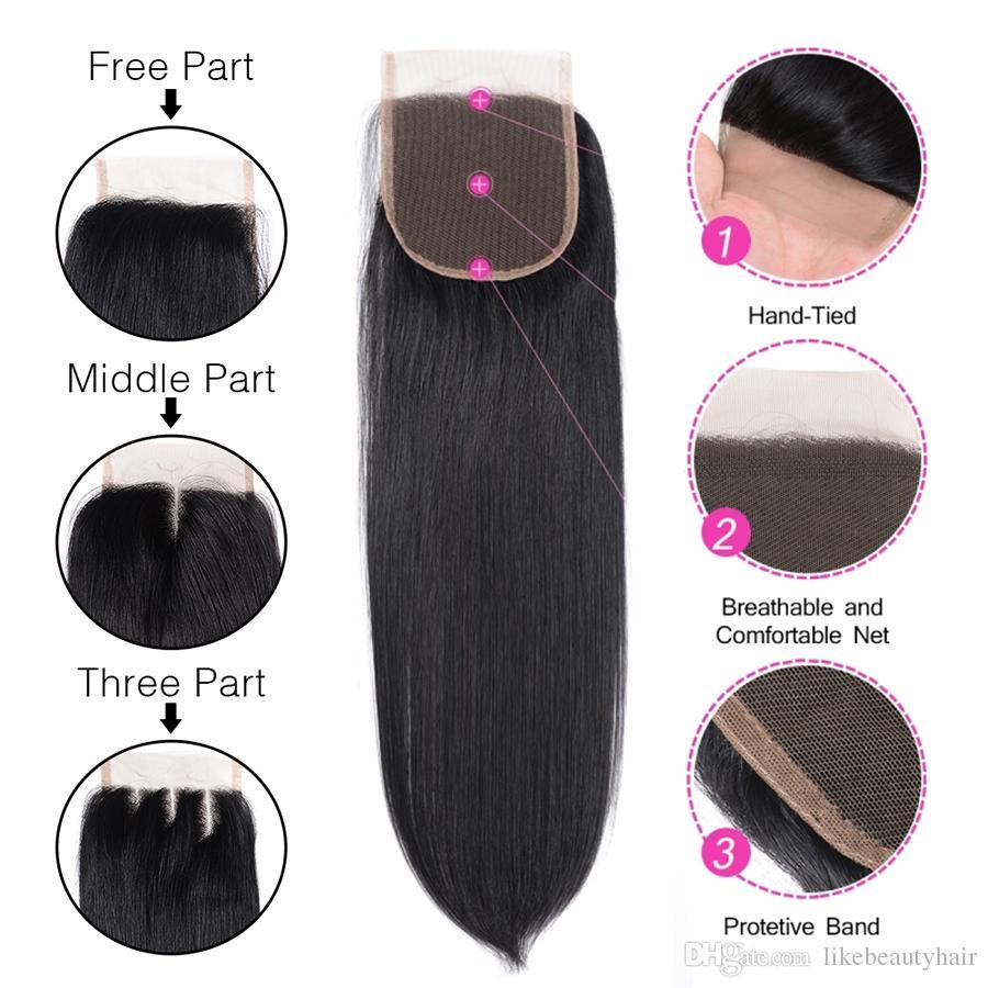 Örgüleri kapatma İnsan saç Düz 4x4 dantel kapatma Moğol bakire saç Ucuz clousures Online dhgate üzerinde sıcak satış liken saç itibaren