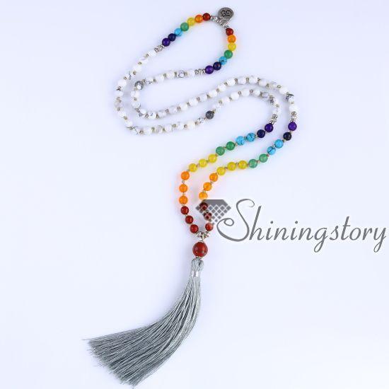 chakra necklace 108 buddhist prayer beads mala beads seven chakra crystal necklace spiritual jewelry wholesale yoga inspired jewelry