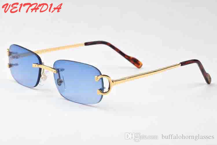 d4a69b4bc2f 2018 Brand Designer Sunglasses For Men Unisex Buffalo Horn Glasses Women  Luxury Rimless Sun Glasses Silver Gold Metal Frame Eyewear Occhiali Baseball  ...