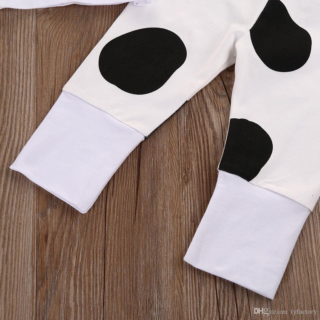 baby cute Set Newborn little cow children boys Girls Tops tshirt+Long Pants+Hat cotton Outfits casual kids dot top Clothes retail 0-24M