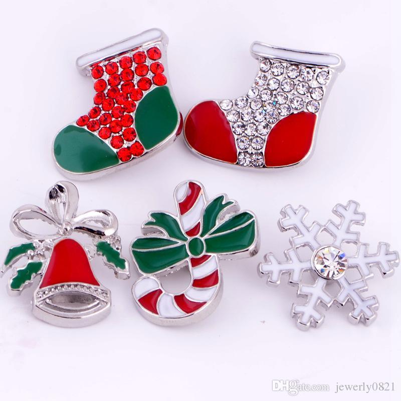 18mm Snap Button Natale Snap Chunk Button 5 stili misti Fai da te gioielli intercambiabili Bracciale Noosa Fit