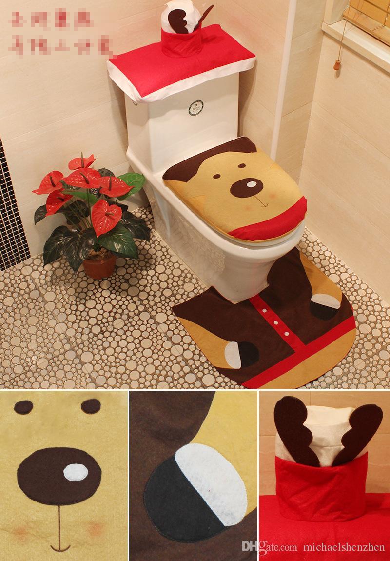 6 Style Santa Bonhomme De Neige Toilette Seat Toilette Vêtements De Toilette Vêtements Décorations De Noël Tapis De Bain Titulaire Closestool Couvercle Couverture Cartoon Accessoires
