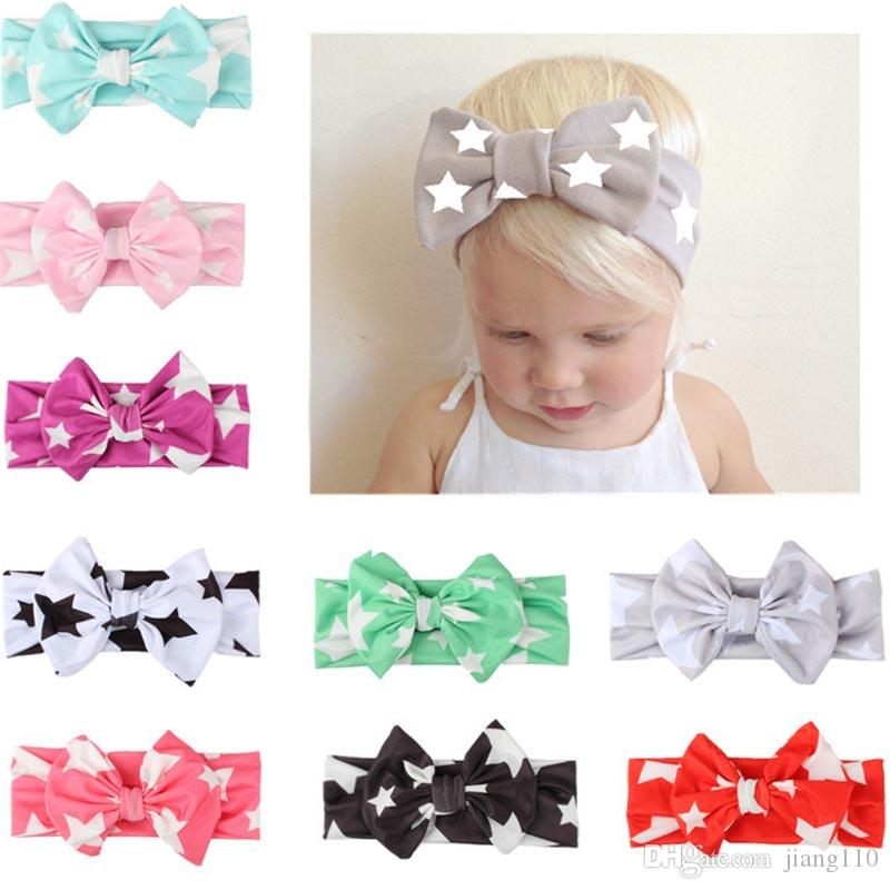 9b6a4fdd949d Girls Bowknot Print Star Headbands For Girls Newborn Infant Hair Accessories  Children Rabbit Ears Elastic Baby Hair Bands Bow Headwear Cheap Bridal Hair  ...