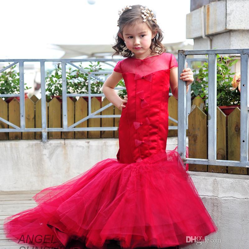 F8 Wine Red Train Mermaid Flower Girls Dresses For ...