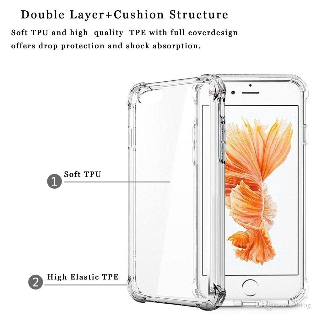 Super Anti-knock Soft TPU Transparent Clear Phone Case Protect Cover Shockproof Soft Cases For iPhone 6 7 8 plus X XR XS Max s8 s9 S10 note8