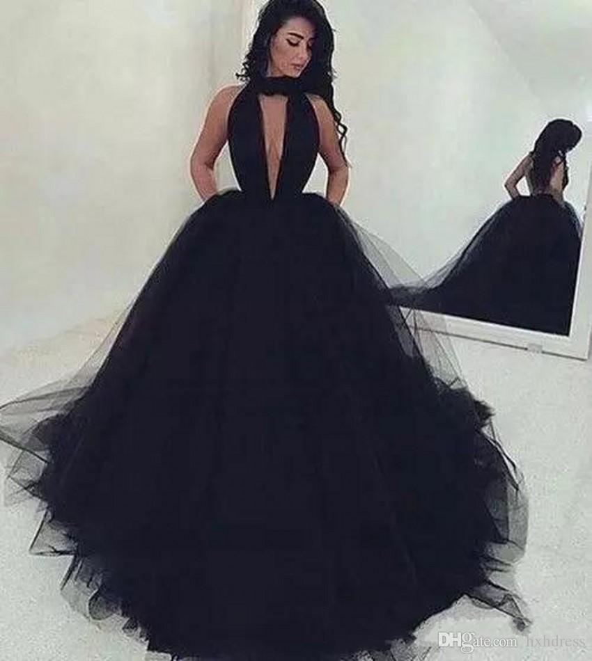 2020 New Deep V Neck Sweep Train Prom Party Gowns Custom Made Simple Arabic Sexy Backless Ball Gown Black Tulle Prom Dresses Long Ruched