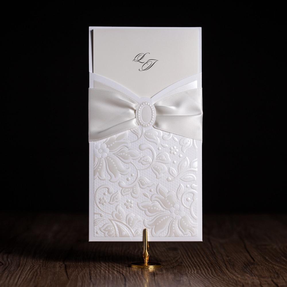 Wholesale Cw5193 White Elegant Wedding Invitation Card Greeting
