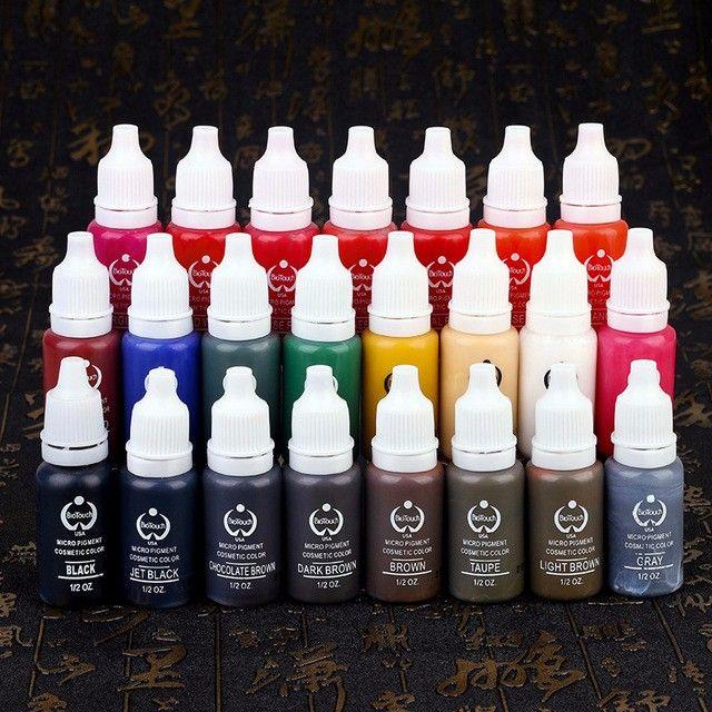 23 Stücke Tattoo Ink Permanent Make-Up Pigment 15 ml Kosmetik 23 Farbe Tattoo Ink Set Farbe Für Microblading Augenbraue Lip Körper Make-Up