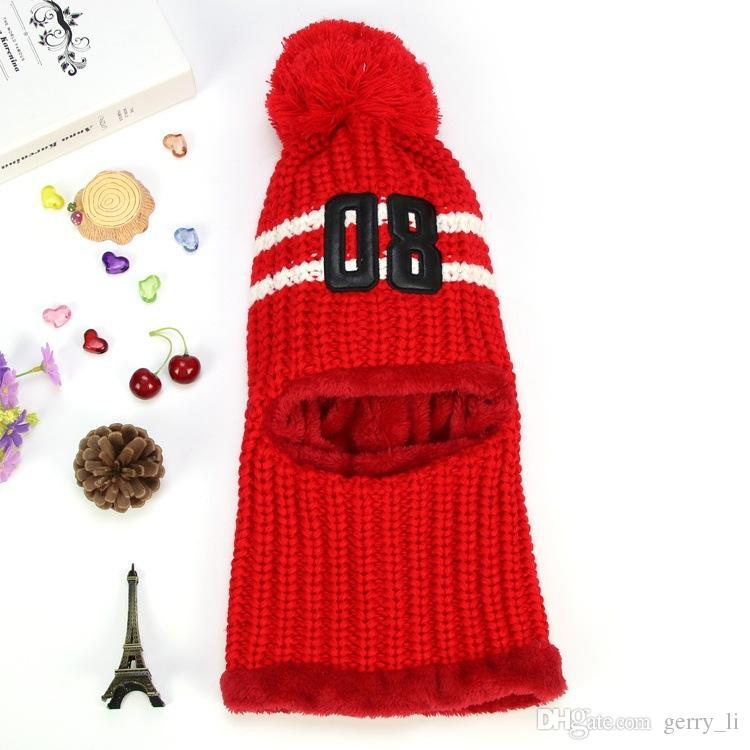 Unisex Adult Teens Winter Warm Hooded Scarf Women number Design Knitted Hat Ring Scarf Kids Cloak Caps MZ5221