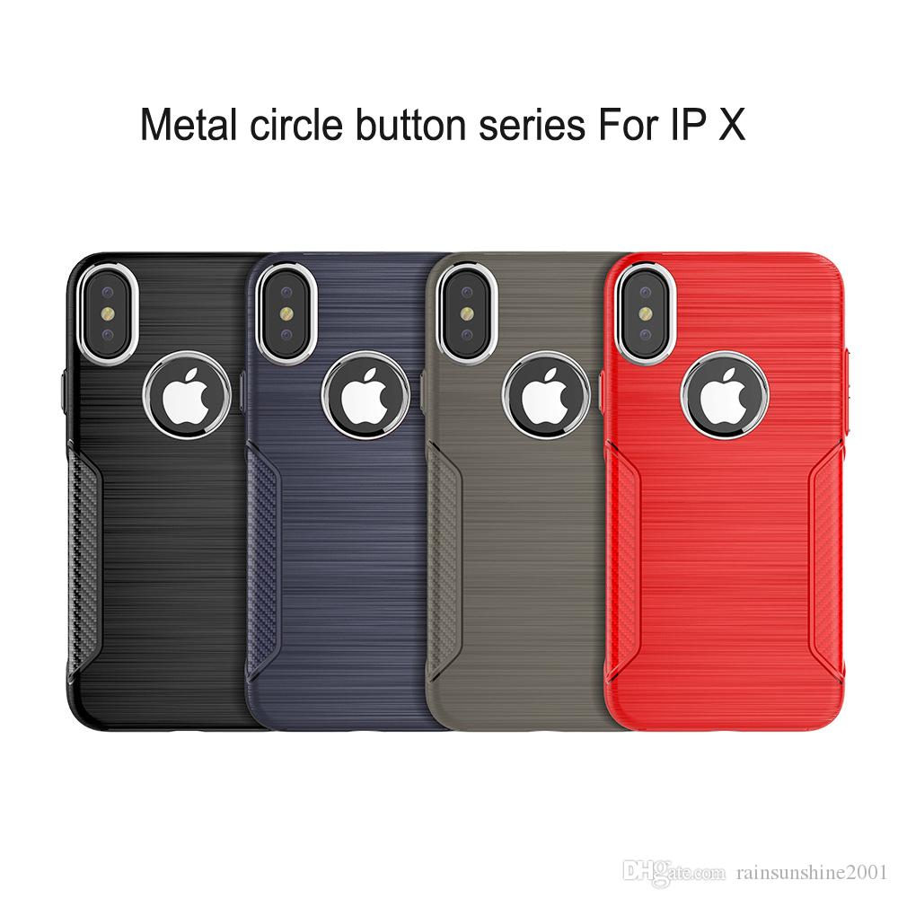 Estuche a prueba de golpes para iPhone X Círculos de metal para el agujero de la cámara Botón de volumen metálico del agujero para logotipo Estuche protector de TPU suave