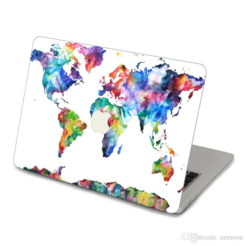 2019 Watercolor World Maps Top Vinyl Front Cover Laptop Sticker For
