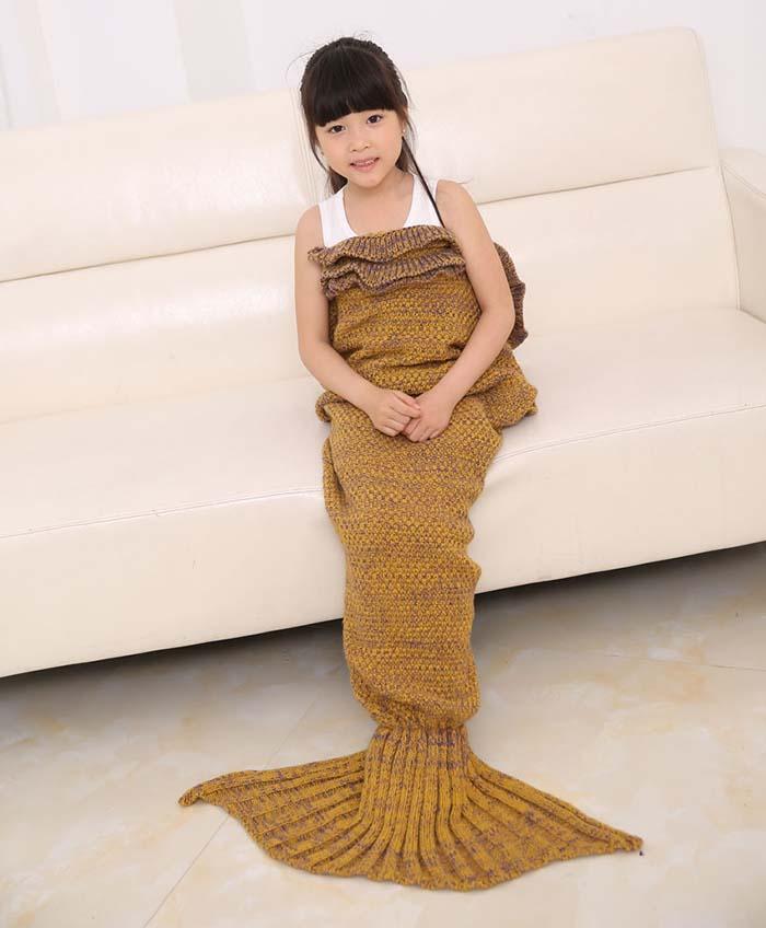 Mezclar mantas de sirena para adultos y niños Mantas de cola de sirena hechas a mano Mermaid Tail Sleeping Bag Knit Sofa Nap Blankets Costume Cocoon