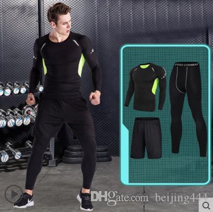 Yeni Nefes Sıkıştırma Spor Spor Takım Elbise 3 adet / takım Koşu Setleri Spor Tayt Uzun T-Shirt Şort Pantolon Demix erkek Spor