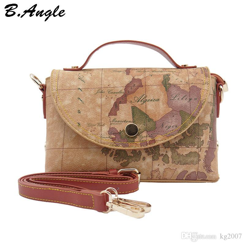 New Fashion High Quality World Map Women Messenger Bags Totes