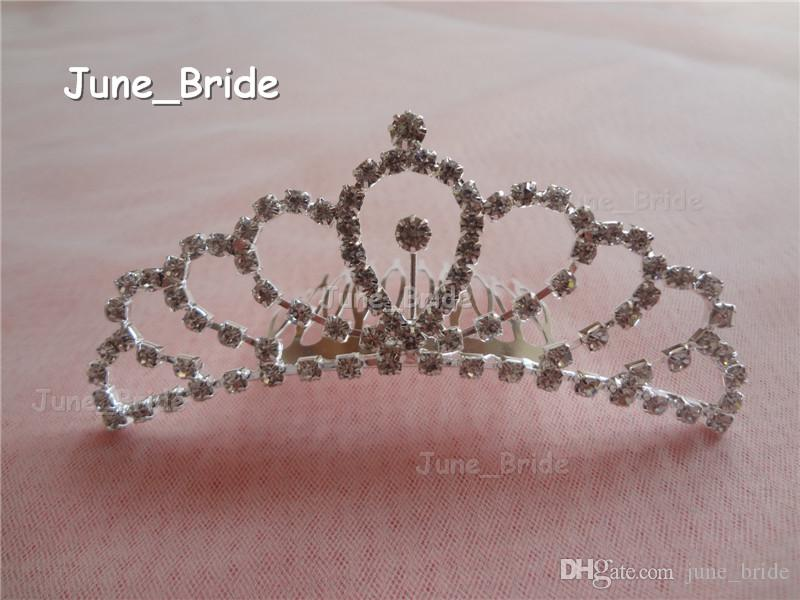 Real Photo Shinny Bridal Crown Glass Crystal Rhinestone Hair Accessory with Comb Unqiue Wedding Headwear Headpiece In Stock