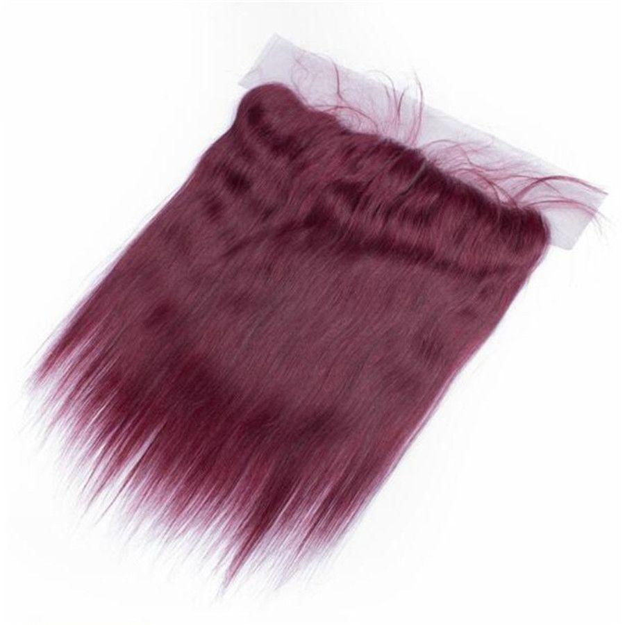 # 99J Вино красное кружево фронтальное закрытие с пучками 4 шт. лот бордовый шелк прямые перуанские девственные человеческие волосы ткать с закрытием отбеленные узлы