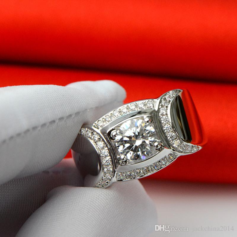 2016 New Fashion Jewelry Hot 925 Sterling Silver Round Cut Topaz Simulated Diamond Gemstones Wedding Band Men Rings For Lover Gift Size7-13