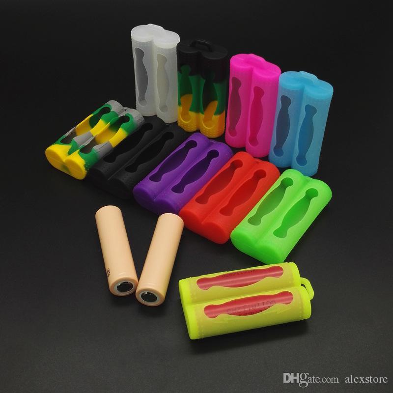 Silicone protettivo della copertura proteggere protezione sicuro custodie colorate in gomma batteria Sony vtc3 vtc4 vtc5 LG dual batterie doppio 18650