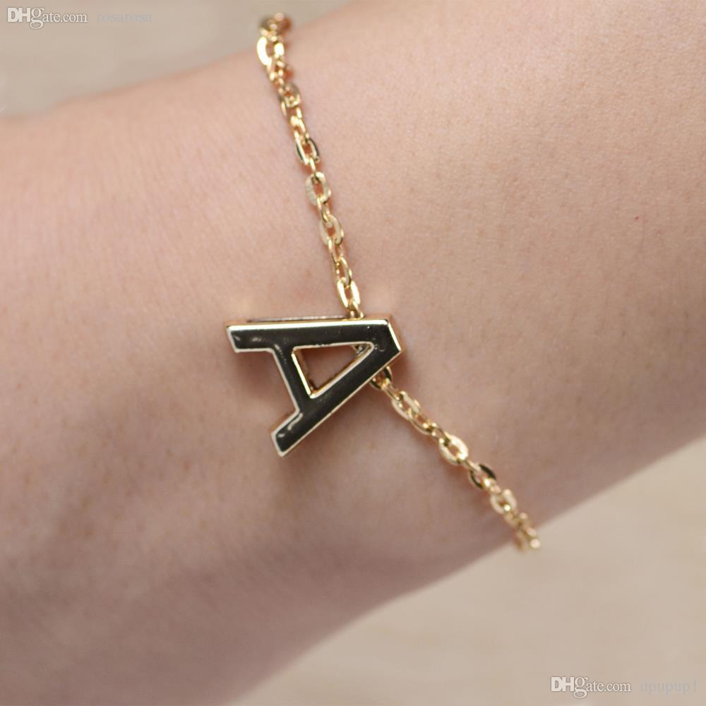 Wholesale gold plated letters bracelet initial charm chain see larger image mozeypictures Image collections
