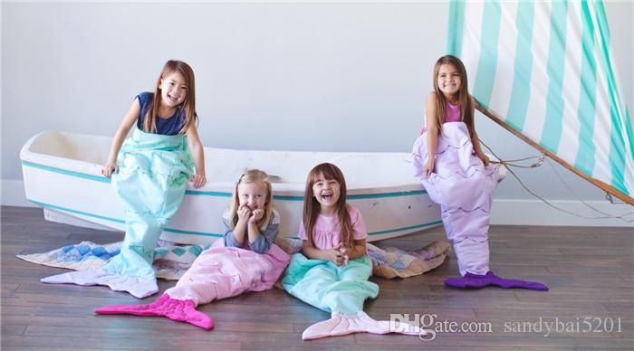 Children Flannel Mermaid Sleeping Bag Baby Bag Kids Cartoon Animals Overalls Girls/ Boys Shark Sleeping Blanket Home Sofa Blanket D15