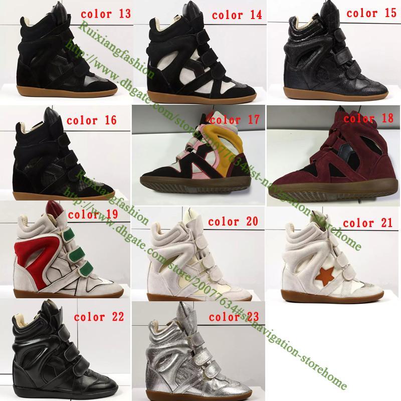 Hebilla de cuña de moda de calidad superior botines altos zapatos casuales mujeres de cuero genuino aumento de la altura de la señora de la plataforma del remiendo del zapato