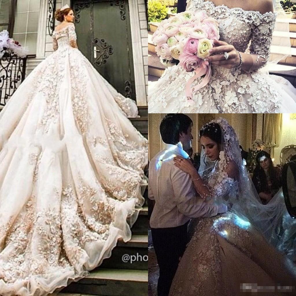 Discount Michael Cinco Castle Church Wedding Dresses With Long Sleeve 2018 Modest 3d Floral Lace Cathedral Train Dubai Arabic Princess Gown Non