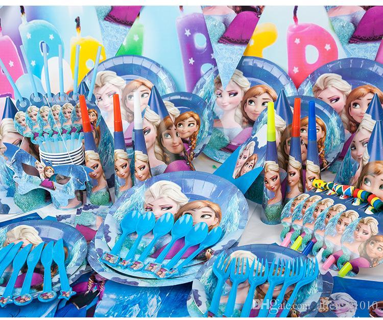 Frozen AnnaElsa Cartoon Birthday Party Decoration Set Kids Baby